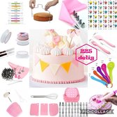 Meest Luxe complete taartset XL: 225 delig roze - taart - set - taart set - cake - bakset decoratie set - decoreren - plateau - taartstandaard