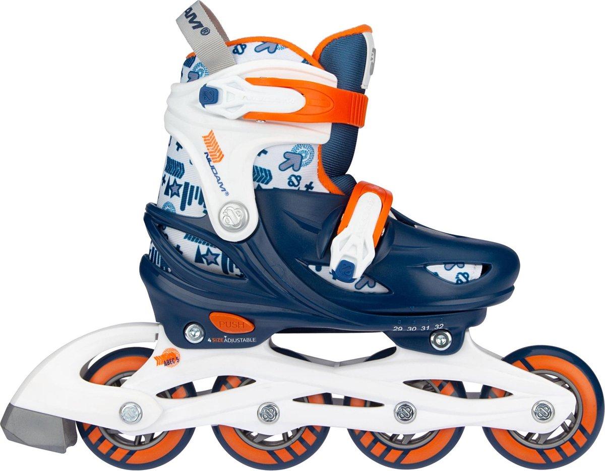 Nijdam Inline Skates Verstelbaar - Traffic Racer - Marine/Oranje/Wit/Zilvergrijs - 33-36