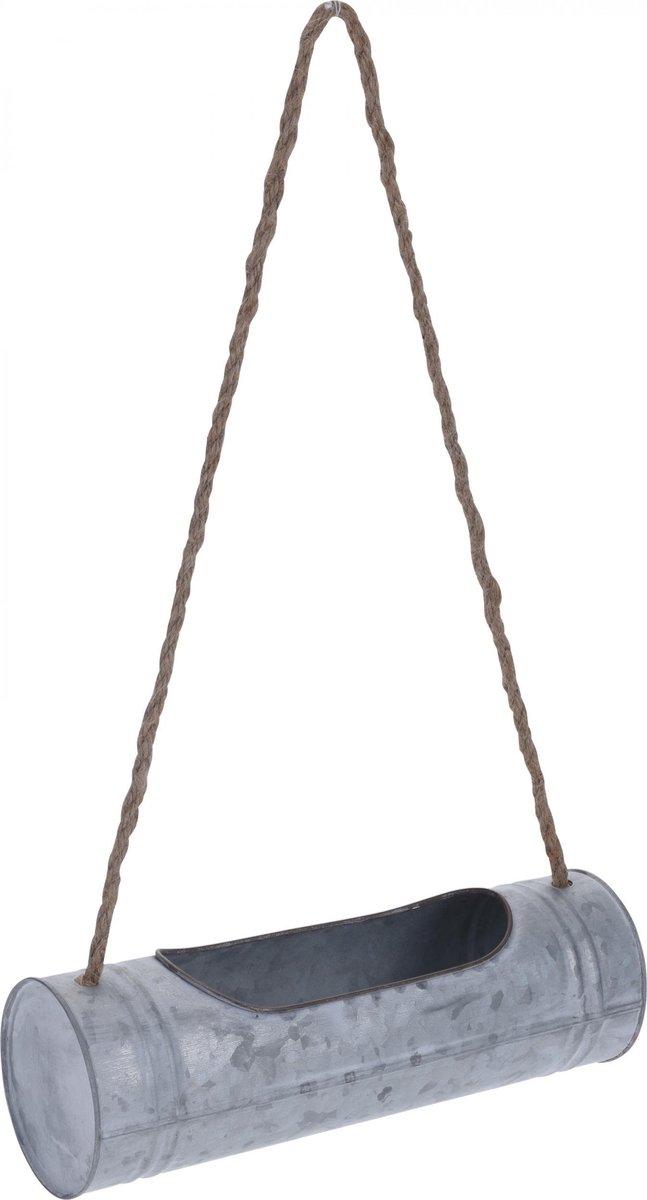 Hangende plantenbak / bloempot - 7 liter - Zink - Grijs - plantenhanger