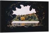 Dibond –Grot met Bomen– 120x80 Foto op Aluminium (Wanddecoratie van metaal)
