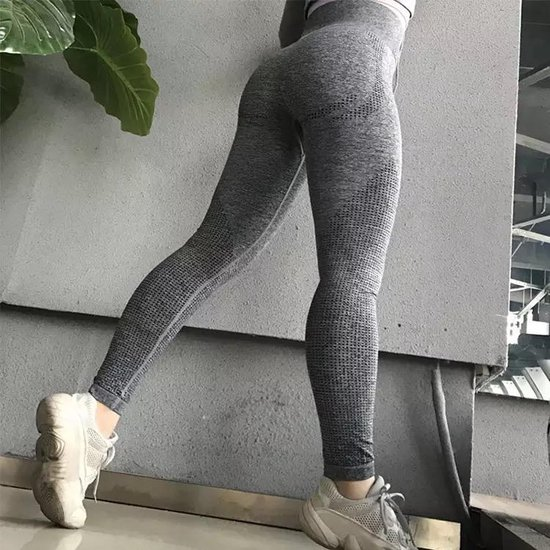 LOUZIR Fitness/Yoga legging - Fitness legging - sport legging Stretch - squat proof - donkergrijs - Naadloos - Maat M