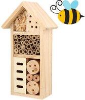BeeHappy Bijenhotel - Insectenhotel voor Bijen/Vlinders/Insecten - Insectenhuis/Bijenhuis - alternatief voor bijenkorf - 27x13,5x6,5cm