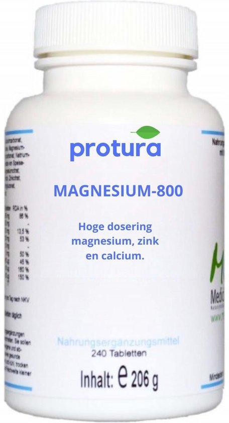 Protura Magnesium 800 mineralen voedingssupplement | Hoge dosering | 240 supplementen