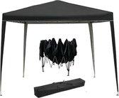 Partytent opvouwbaar draagbaar - easy up paviljoen party tent - tentdoek 210D Oxford - 3 x 3 m - zwart