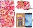 FONU Bookcase Hoesje Roze Rozen Samsung Galaxy J5 2017 (SM-J530)