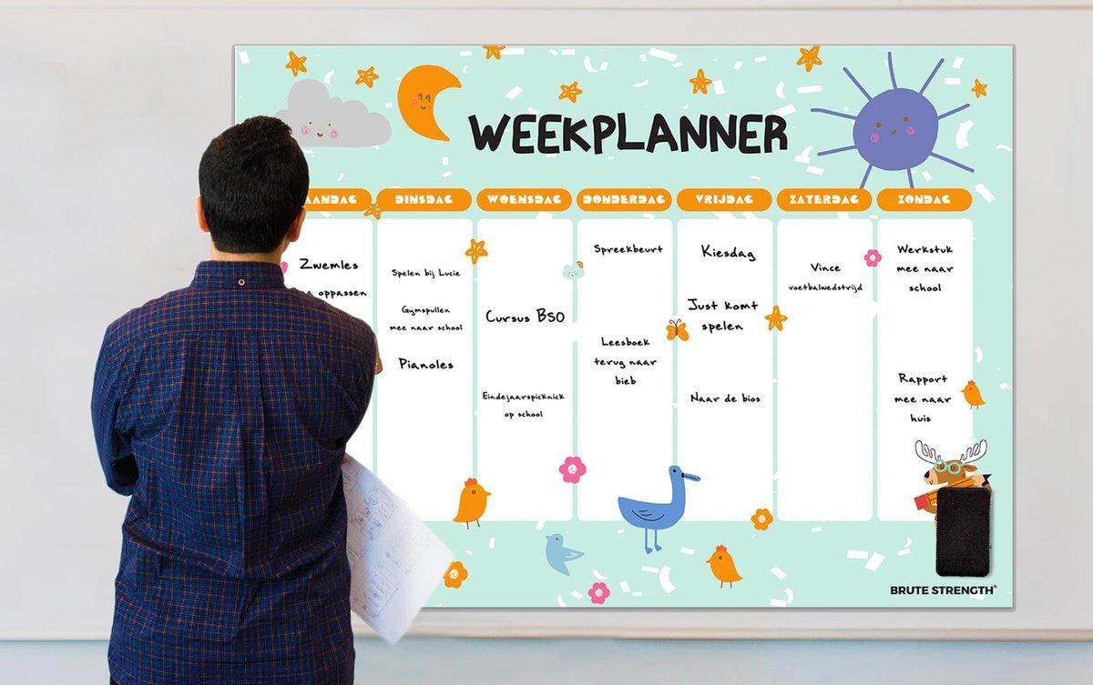 Magnetisch Weekplanner whiteboard (11) - 93x69 cm - Marker - Wisser - Planbord - Familieplanner - Gezinsplanner - To Do Planner