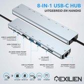 Exilien 8-in-1 USB-C Hub Adapter - Compatible met
