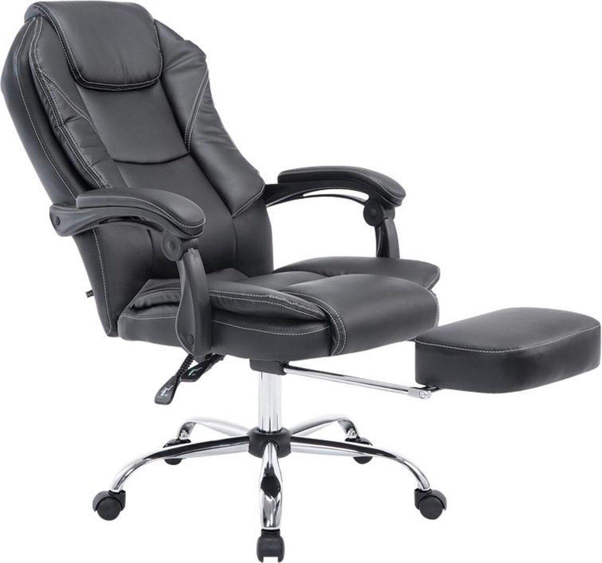 Bureaustoel - Ergonomische bureaustoel - Voetensteun - Kunstleer - Zwart - 64x67x114 cm