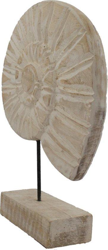 Schelp op standaard | hout wit 30 cm - decoratie white wash