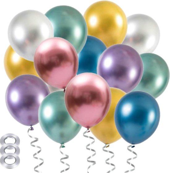 Partizzle® 40x Verjaardag Helium Feest Ballonnen Versiering - Grote Latex Ballon - Chrome Metallic