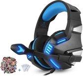 Gaming Headset voor PS4 Xbox One, Micolindun Over Ear Gaming Koptelefoon met Microfoon - Blauw