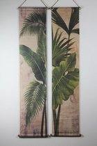 Home Society - Botanische katoenen wanddoeken - set van 2 - 175 x 38 cm