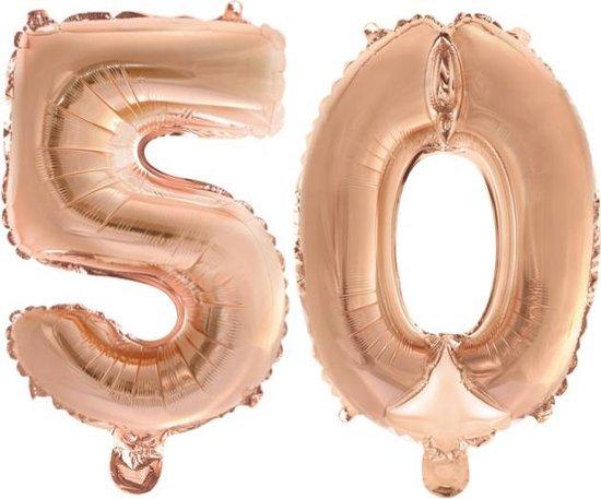 Folieballon nr. 50 Rosé Goud 41cm