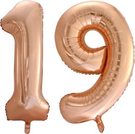 Folieballon nr. 19 Rosé Goud 86cm