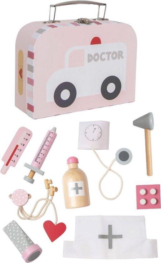 Dokterskoffertje Zilvergrijs met naam | Houten Speelgoed met