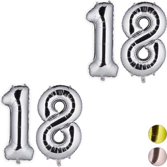 relaxdays 2x folieballon cijfer 18 - luchtballon - cijfer ballon - lucht   helium - zilver