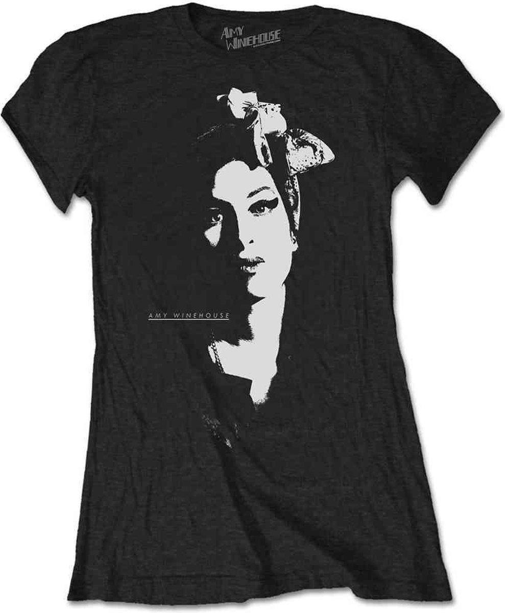 Amy Winehouse Dames Tshirt -L- Scarf Portrait Zwart