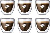 Bodum Theeglazen - Dubbelwandige Koffieglazen - 80 ml - 6 stuks - Carte Noire