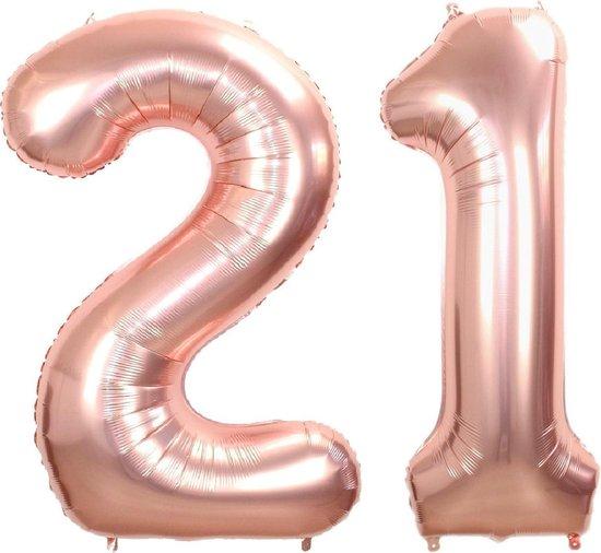 Folie Ballon Cijfer 21 Jaar Rosé Goud 70Cm Verjaardag Folieballon Met Rietje