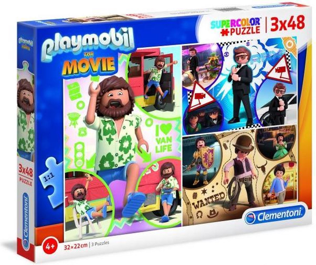 Playmobil the movie 3 x 48 stukjes puzzel