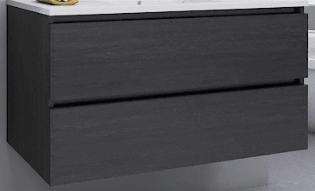 Sub 120 wastafelonderkast met 2 laden 60 cm, donker eiken