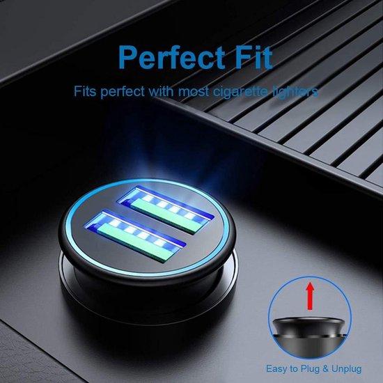 Multi Compacte 3.0 Auto Lader Oplader - Dual USB Port Sigaretten Aansteker - voor Elektronische Apparaten (zwart)
