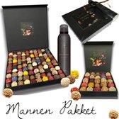 Stoer chocolade cadeau pakket mannen Chocoladna & Rituals 16 handgemaakte bonbons plus Rituals voor mannen cadeau pakket, giftset voor vaders, mannen, vaderdag kado, relatiegeschenk, cadeautje ook met bierpakket verkrijgbaar