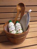 Sauna set : houten sauna emmer en lepel + opgietmiddelen eucalyptus en berk en vilten saunamuts