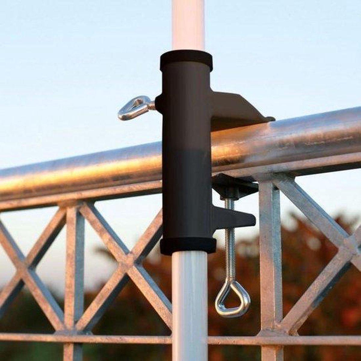 Parasolhouder voor balkon| parasolbevestiging| parasol| verkoeling zoeken| schaduw| parasol voet| metaal| Garden| Tuin| Balcony