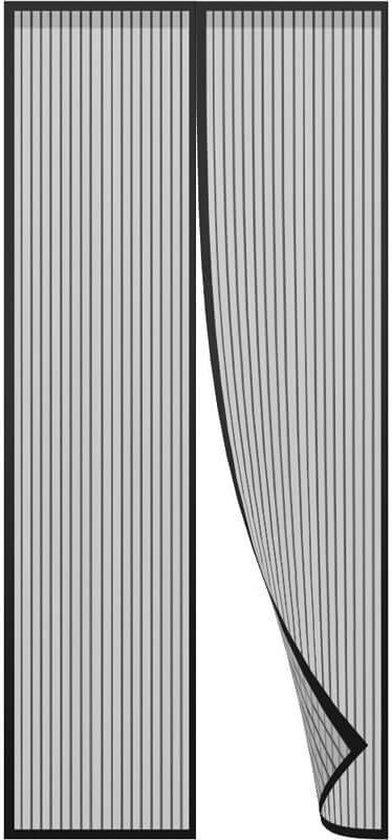 Afbeelding van Zwart - Vliegengordijn - 100x210 cm - Magneet - Deurhor - Insectenhor - Klamboe - Anti insect - Vliegenhor - Muskietennet