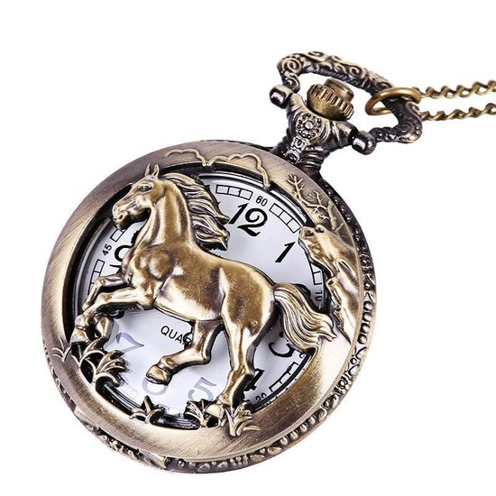 Paard Meisje Vrouw Kettinghorloge - Dames Horloge - Bronskleurig - Lange Ketting