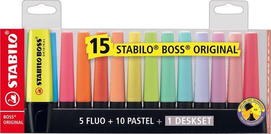 Markeerstiften STABILO BOSS ORIGINAL - DESKSET 10 PASTEL KLEUREN + 5 FLUOKLEUREN