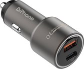 DrPhone Invincible® - 18W - Metalen Auto Lader -  2 Poorten - (USB-C Female + USB QC 3.0) Oplader -  Smartphones en Tablets