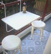 SOSI Inklapbaar balkontafel - balkon tafel hangen - smart - modern - klaptafel balkon- tafel voor balkon - balcony table - KLEUR WIT