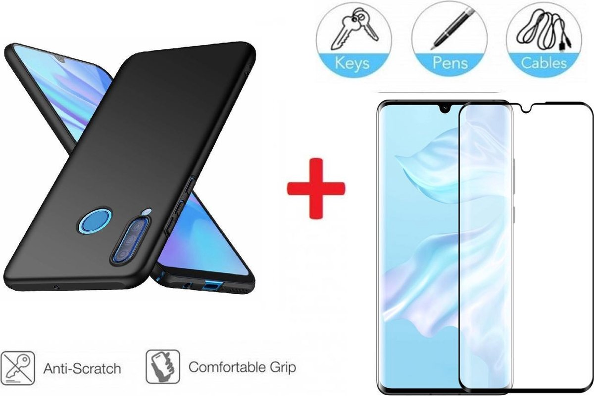 Afbeelding van product AA Commerce  2-In-1 Screenprotector Bescherming Protector Set Voor Huawei P30 Lite - Full Cover 3D Edge Tempered Glass Screen Protector Met Siliconen Back Cover Case - Mat Zwart / Transparant