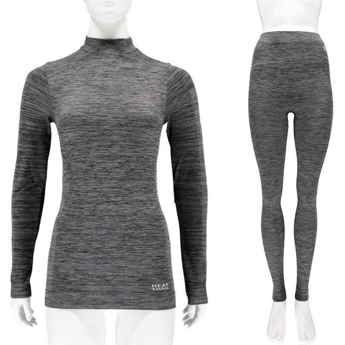 Thermo onderkleding set voor dames zwart melange - maat L - shirt lange mouw en broek - Wintersport kleding - Thermokleding