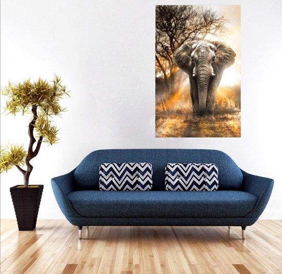 Diamond painting - Olifant in schemer - 40 x 50 cm - Volwassenen -  Kinderen - Ronde steentjes - Diamant schilderen - Zelf schilderijen maken - Hobby - Volledig