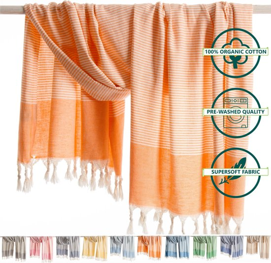 ANATURES® Strandlaken TRAVELER 95 x 175 cm - Soft Cotton Hamamdoek XXL – Fairtrade Sauna Badlaken - Biologische Katoen - Oranje