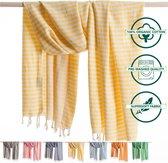 ANATURES Hamamdoek XL HOLIDAY 95x190 cm   Hamam strandlaken, Badlaken, Sauna handdoek, Fouta pareo, Yoga handdoek   Fair Trade – Biologische katoen   Geel