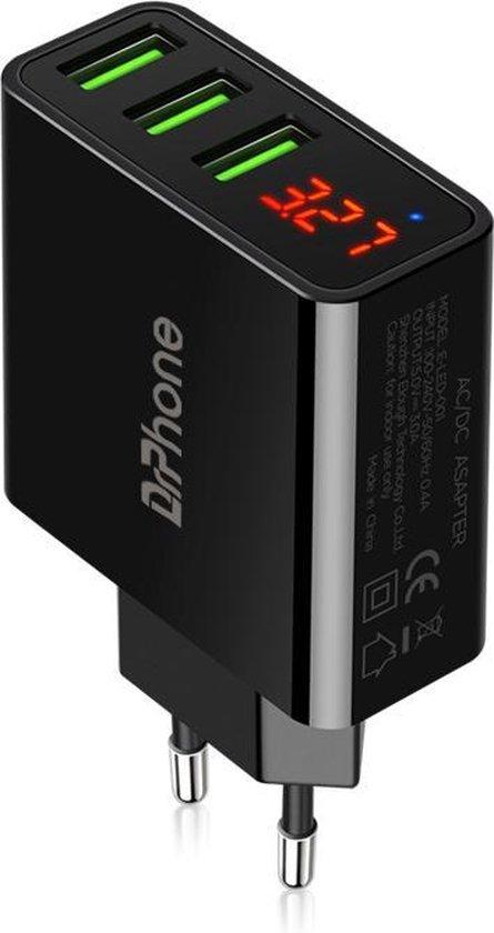 DrPhone - Thuislader 3 poorten USB-oplader - Zwart - 3A Smart Fast Charge Lader met LED-display real-time status van stroom en spanning & ingebouwde smart chip Veilig Laden