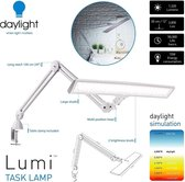 Daylight Lumi E35500 bureaulamp met gratis tafelklem led dimbaar daglicht klemlamp met dimmer dimfunctie in hoogte verstelbaar wit 6000 Taaklamp- Werklamp- Tafellamp