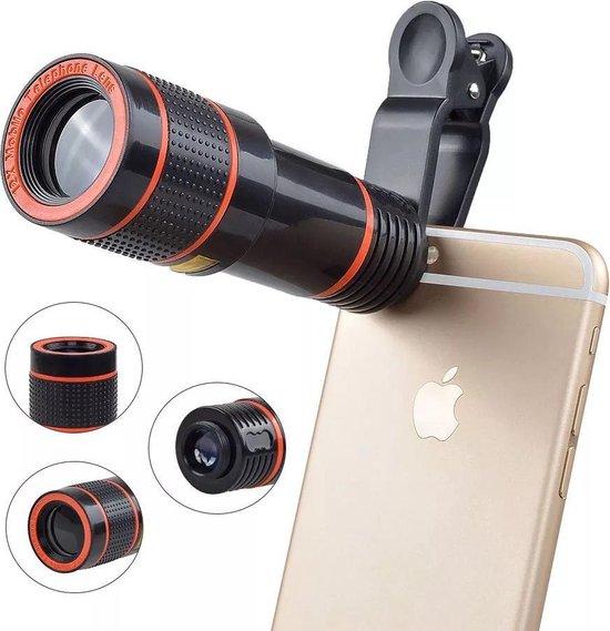Lenzenset Voor Een Smartphone – Zoom, Groothoek, Macro En Fish-eye-  – Universeel – 12x Vergrotend – 8- Delige Set – Inclusief Opbergtas – Smartphone Lens – Clip-on – Met Statief – Lenzenset – Zoom Lens – Groothoek – MacroLens – Fish Eye