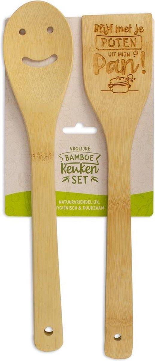 Bamboe keukenset met tekst Blijf met je poten uit mijn pan