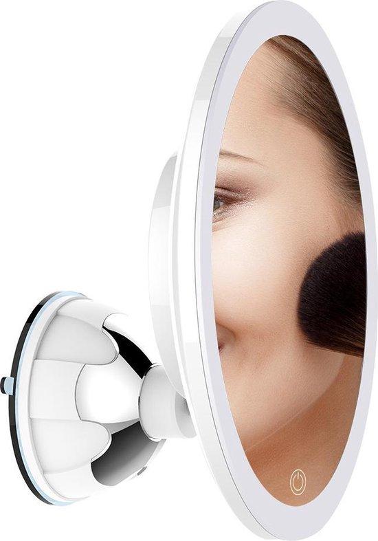 Innovision® Make up spiegel met verlichting en zuignap - 360° verstelbaar - 10x vergroot - Vergrootspiegel met batterij en usb kabel