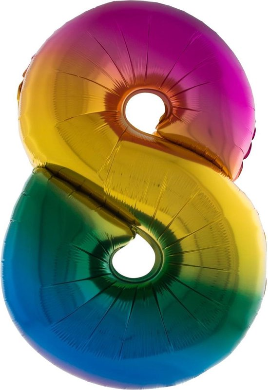 Cijferballon folie nummer 8 | Opblaascijfer 8 regenboog 102cm