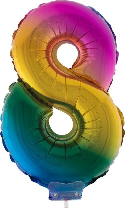 Cijferballon folie nummer 8 | Opblaascijfer 8 regenboog 41cm