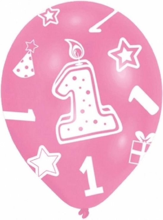 24x stuks roze ballonnen 1 jaar verjaardag feestartikelen versiering meisjes