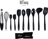 Blaq Cookware silicone kookgerei set - 10 delige keukengerei set - Hittebestendig - Vaatwasserbestendig -  Hoge kwaliteit - BPA vrij - Tang - Garde - Bakkwast - Pannenlikkers - Schuimspaan - Pollepel - Spaghettilepel - Opscheplepel - Spatel