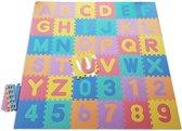 ABC / 123  Foam Puzzel Speelmat - 36 Speelmatten - 121 delig - Uitneembare Figuren - Opbergtas - Afwerkranden - Multi Kleuren - Puzzelmat 182x182x1cm