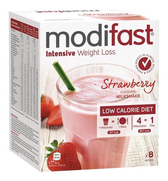 Modifast Aardbeien Milkshake - Drinkmaaltijd - 8 stuks